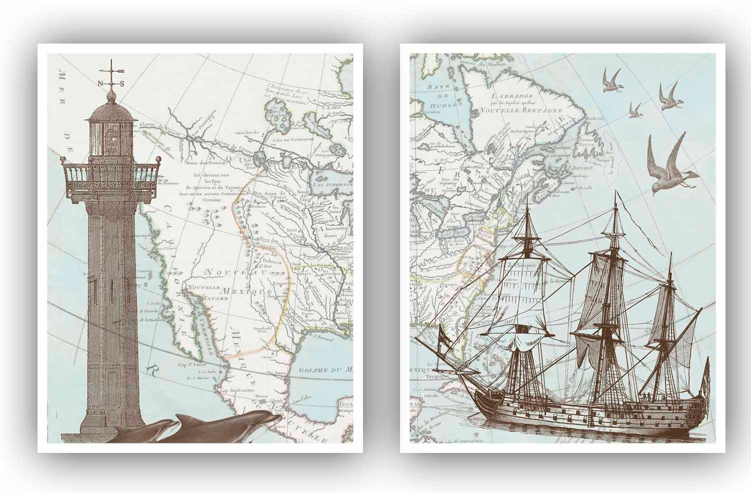 Nautical diptych sailboat lighthouse antique north america map