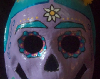 Purple Blue and Yellow Frida Kahlo Dia De Los Muertos Day of the Dead Sugar Skull Mask