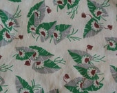 Two Pieces of Green Leaf Design Flour Sack / Feed Sack Fabric