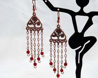 Copper & Red Coral Chandelier Earrings, Dangle Earrings, Drop Earrings, Chain, Flower, Rose