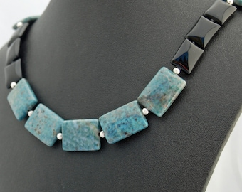 Teal Obsidian Natural Stone Designer Necklace