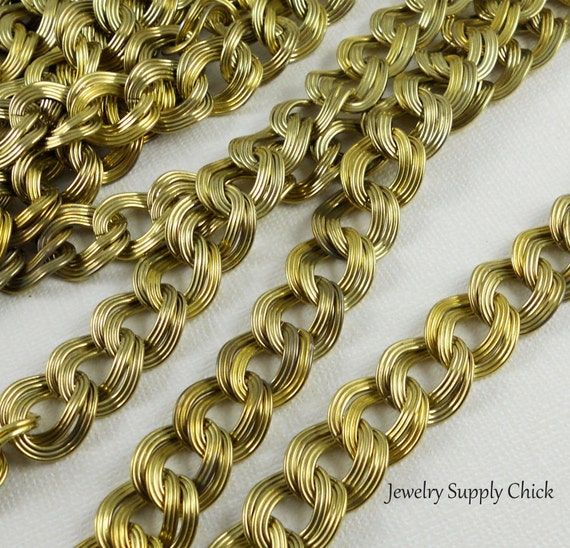 Vintage brass double curb chain (2')