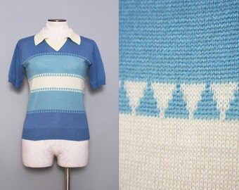 1970s Ski Sweater / Vintage 70s Retro Sweater Top / Small