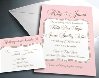 Wedding Invitation Card Suite Set - Printable PDF - Fancy Frame - Personalized - Custom Colors
