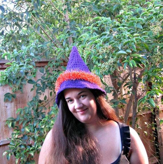 Purple Witch Hat With Orange Fuzzy Trim