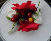 Red and White Hair Flower With Fruit