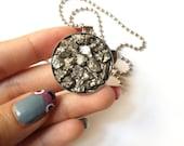 Pyrite Chunk Chain, raw druzy silver pendant ball mica fool's gold