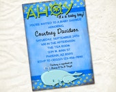ahoy whale baby boy shower invitation print yourself file