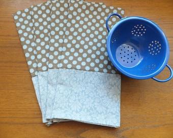 Pastel Blue and Brown Polka Dot Dish Towels, Set of 2