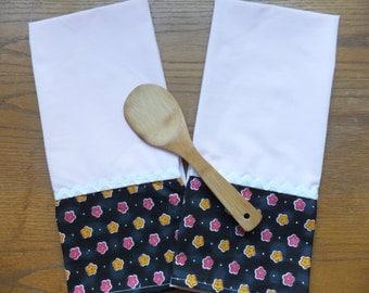 2 Black and White Dish Towels, Tea Towels, Kitchen Towels