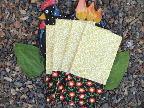 Yellow Swirl and Black Flower Dish Towels, Set of 2
