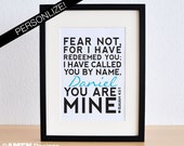 Printable Christian Poster. Redeemed. Isaiah 43:1. 8x10. DIY. PDF.Bible Verse. Personalize.