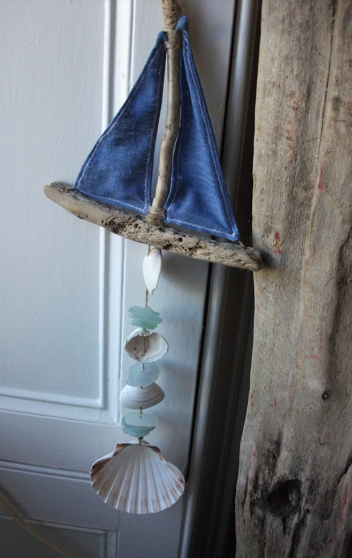 tissu seaglas coquillage et bois flott bateau poisson. Black Bedroom Furniture Sets. Home Design Ideas