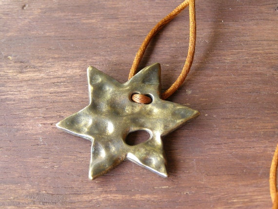 Bronze Star pendant Necklace, up cycled vintage Jewelry, warm brown necklace, autumn colors, Star of david