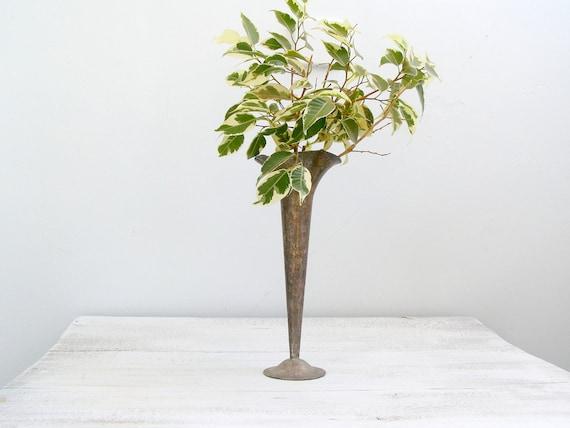 Vintage Metal Vase Rustic Tall Vase Unique Vase For One