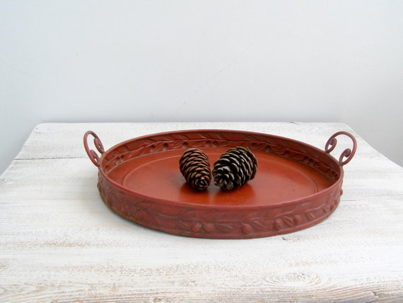 Rustic Red metal Platter, Vintage round metal tray, pot platter, garden decor, country cottage decoration, party decor