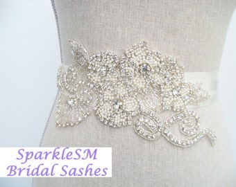 Bridal Sash, Bridal Belt, Rhinestone Sash, Rhinestone Applique, Crystal Bridal Belt, Flower Bridal Sash Pearl Bridal Sash Pearl Wedding Belt