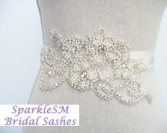 Bridal Sash, Bridal Belt, Rhinestone Sash, Rhinestone Applique, Crystal Bridal Belt, Flower Bridal Sash Pearl Bridal Sash Pearl Wedding Belt
