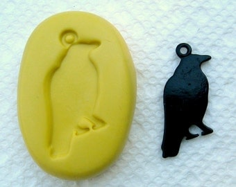 Black bird jewelry charm with bail hole  - silicone non-toxic flexible mold / mould  for FIMO, resin, wax, kawaii