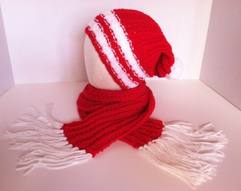 Red White Hat Scarf Set Slouch Hat College NFL School Arkansas NC State Cardinals