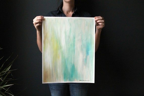 16x20 Abstract Ikat-inspired Painting on Unstretched Canvas. Soft Blue and Green with white and tan.