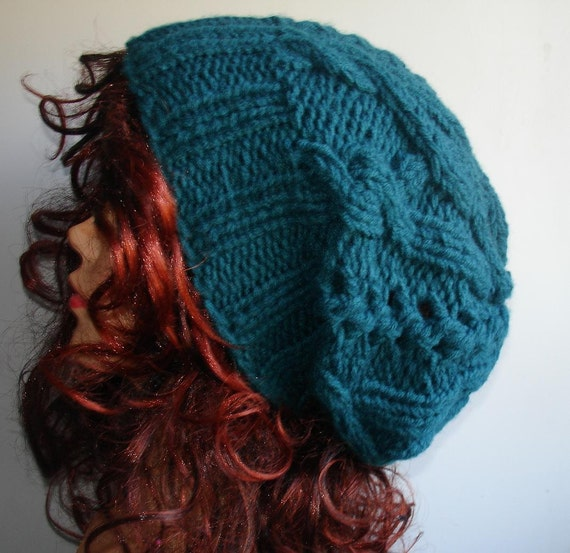 Handmade Knit Cable Hat Beanie Slouchy Hat Beanie Large for Men / Women Sea Green Baggy cabled Slouchy hat Warm hat