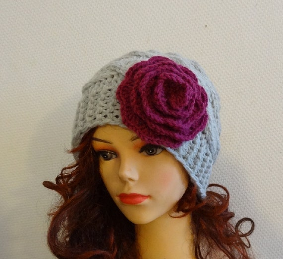 Crochet Womens Hat : crochet flower Knit womens hats Women hat Big Flower Crochet Womens ...