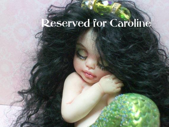 OOAK art doll fantasy mermaid baby polymer clay sculpture fairy  IADR  august birthstone     free shipping