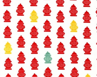 Fat Quarter ONLY - Fire Hydrants on White From Robert Kaufman's Pet Park Collection
