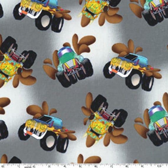 Monster Trucks on Gray From Michael Miller