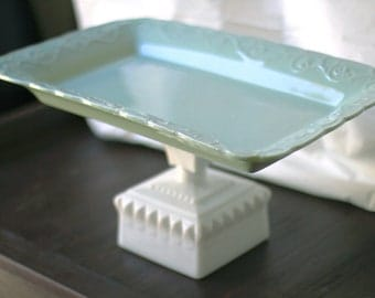 "16"" Cake Pedestal Stand - Robin Egg Blue / Rectangle Cupcake Stand Dessert Pedestal / Cookie Tray Cookie Platter Pedestal for Custom Cookies"