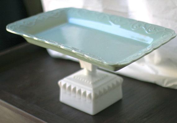 "16"" Cake Pedestal Stand - Robin Egg Blue / Rectangle Cupcake Stand Dessert Pedestal / Cookie Tray Cookie Platter Pedestal for Custom Cookies"