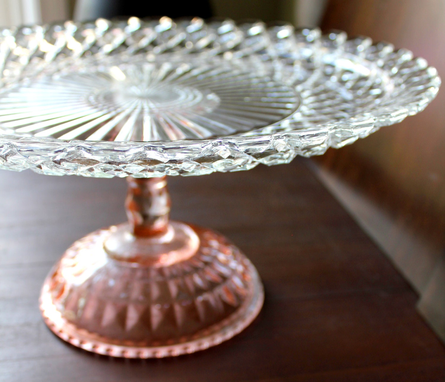 14 pink cake stand pedestal glass cake stand cake for Colored glass cake stand