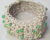Natural Hemp and Glass Bead Cuff Boho Crochet Bracelet