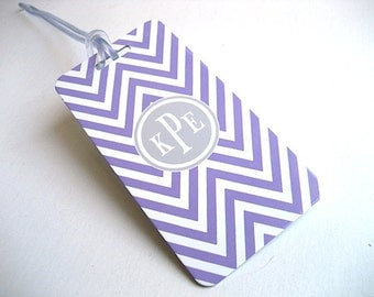 Luggage Tag 3 pack - Lavender and White Chevron Custom Monogram Luggage Tag