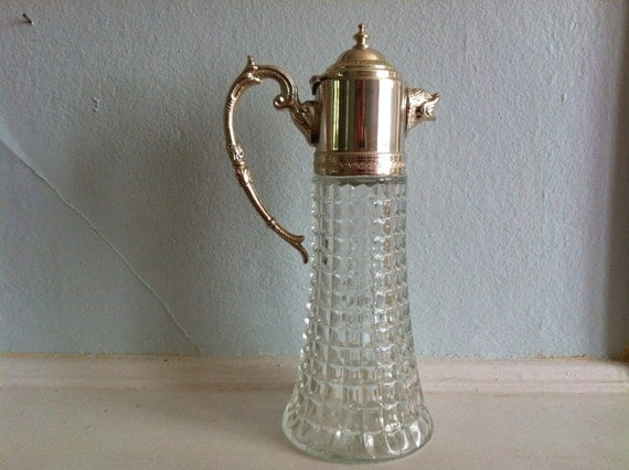 vintage Italian cut glass and silver animal spout pitcher