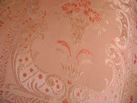 RESERVED for Rose - Twin Size Pink Silk Coverlet - Throw - Table Cover - Lightweight Silk Brocade with Fringe
