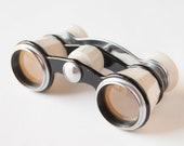 Opera glasses, theatre binoculars, white, black tones, Soviet Era