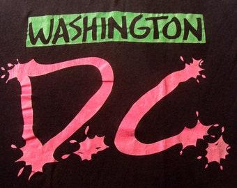 Vintage 80s Washington DC Neon Black T Shirt