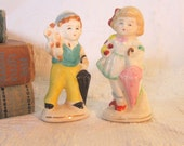 Vintage Figurine Boy Girl Pair Umbrella Love Courting Collectable Flowers Home Decor Kissing Gift for Her