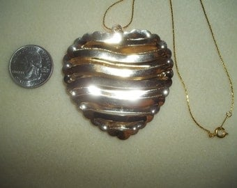 Vintage Large Puffy Heart Pendant on 18KGP Chain