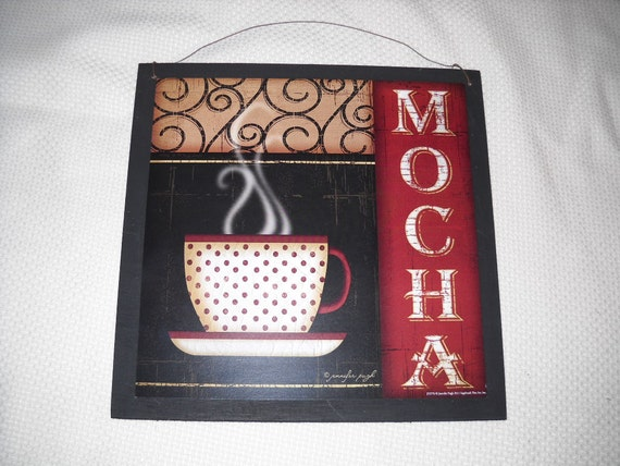 Mocha Coffee Mug Cafe Wooden Kitchen Wall Art Sign Black Red Tan