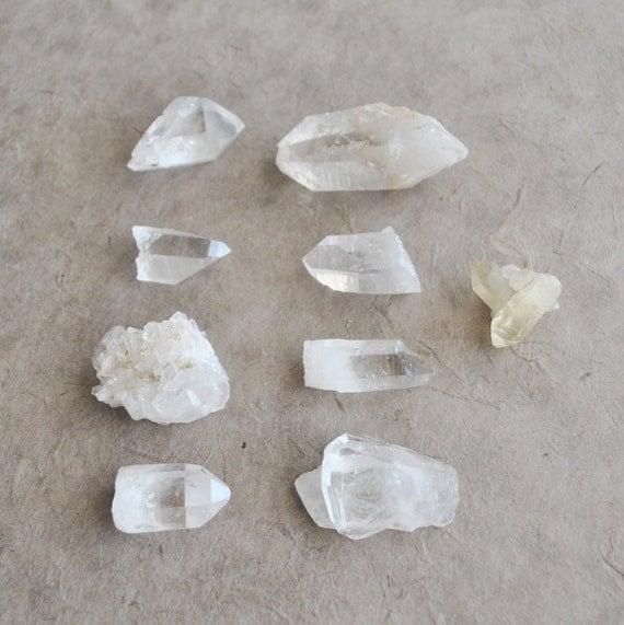 instant collection quartz crystal points  (9 pcs)