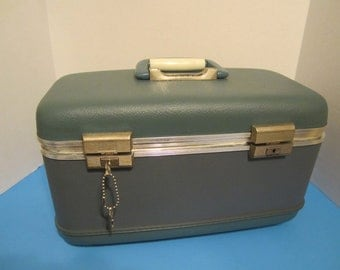 Vintage Slate Blue Train Case