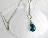 Blue Topaz Necklace, AAA  w Sterling Silver wire wrap, Sterling Silver Chain