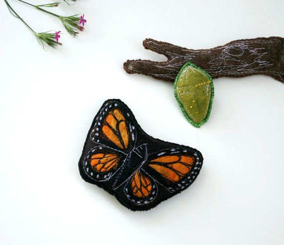 Handmade Montessori Work - Magnetic Monarch Butterfly Life Cycle. Made to Order.