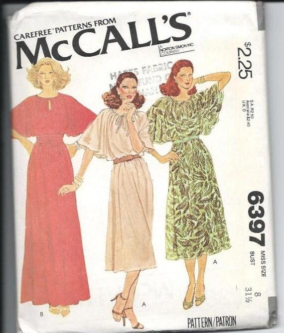 McCall's Dress Pattern 6397: Size 8, Pullover Dress, Uncut Sewing Pattern