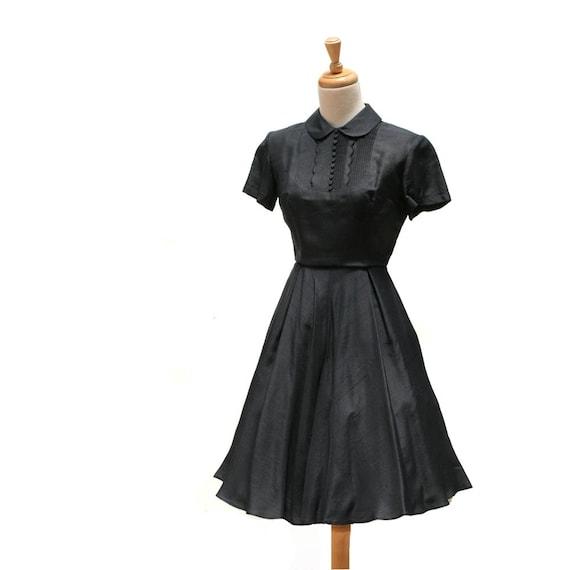 vintage navy blue silk dress