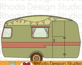 Vintage Camper Olive Green Digital Clip Art Retro Camp Trailers