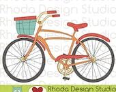Retro Bikes With Basket Digital Clip Art Vintage Bicycles